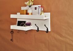 Sale Entryway mail & key wall white reclaimed wood shelf organizer-storage and organization-mail and key holder-entryway organizer-shelving