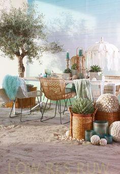 Home Decoration Design Ideas Outdoor Furniture Sets, Outdoor Decor, Home, Beach House Style, House Styles, Retro Interior, Boho Interior, Ibiza Style Interior, Outdoor Inspirations
