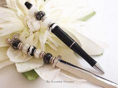 Parure papeterie stylo et coupe papier Le noir chic, accessoire écriture , cadeau homme, Noêl : Matériel pour écriture par lacaudry-creation