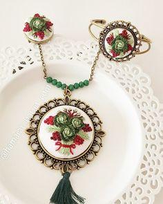 Haki gül buketi seti - embroidery necklace - вышивка колье - Handmade - Cross Stitch - Rococo - рококо - Rokoko - Brazilian embroidery - embroidery - crossstitch - kanaviçe - el işi- brezilya nakışı - вышивка крестиком - вышивка - ручной работы