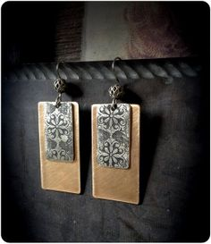 Mixed Metal Etched Rectangle Dangle Earrings by CoccoJewelry, $15.85