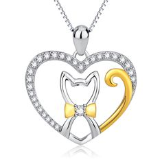 477ad73c1 YFN Genuine 925 Sterling Silver CZ Crystal Love Heart With Cute Cat Pendant  Necklace Fashion Jewelry Christmas Gift For Women