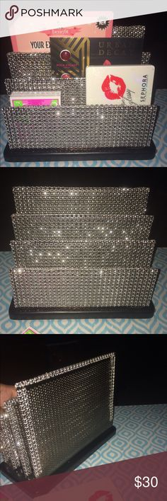 "Custom Blinged Out makeup pallet holder Custom made. Measures approx 7 1/2 x 3 1/2 and 6"" tall. Has 3 slots. Makeup in picture not included. Unique piece to display your makeup in style. Great gift. Urban Decay Makeup"