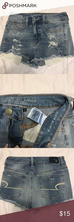 American Eagle high waisted denim shorts Light medium wash high rise high waisted denim shorts. Ripped and frayed. New without tags American Eagle Outfitters Shorts Jean Shorts