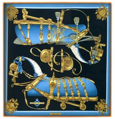"Hermes Silk Scarf called ""Harnais de Cour"" designed by Philippe Ledoux in 1977"