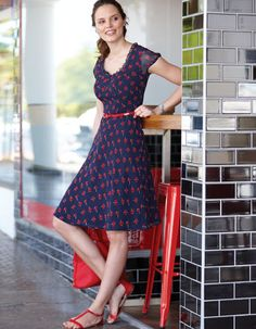 Belted Tea Dress in Navy/Red Print by Pepperberry
