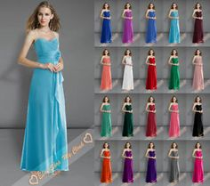 New Chiffon Length Bridesmaid Gowns Prom Party Evening Dresses Formal Size 6-26