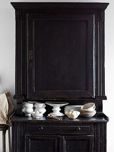 """I really like this hutch. You could probably paint anything to look like this...by using the """"chipped"""" paint look..."""