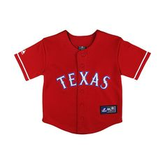 Texas Rangers Toddler Alternate Replica Jersey by Majestic Athletic ($35) ❤ liked on Polyvore featuring baby stuff, shirts and tops