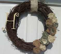 Natural Wreath with Tan, Light Green, and Cream Burlap Flowers - Spring Wreath - Summer Wreath