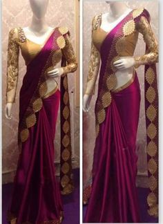Magenta And Gold Heavy Designer Multy Work Saree Trendy Sarees, Stylish Sarees, Fancy Sarees, Saree Designs Party Wear, Party Wear Sarees, Saree Blouse Patterns, Saree Blouse Designs, Dress Designs, Indian Bridal Outfits