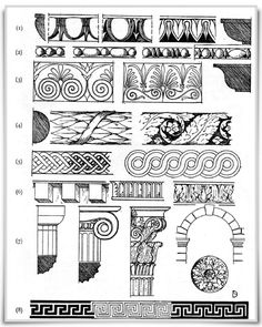 Greek and Roman Carved MouldingsCarved moldings of the style known has Early American Colonial Furniture  Various Mouldings  Various Mouldings  Palmate Bands  Torus Mouldings  The Interlace and Guiloche  Modillions  Doric, Ionic and Corinthian Capitals ; Roman Arch and Rosette  Greek Frets