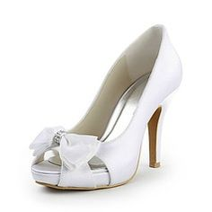 Shoes - $65.99 - Women's Satin Cone Heel Peep Toe Platform Pumps With Bowknot Rhinestone  http://www.dressfirst.com/Women-S-Satin-Cone-Heel-Peep-Toe-Platform-Pumps-With-Bowknot-Rhinestone-047015271-g15271