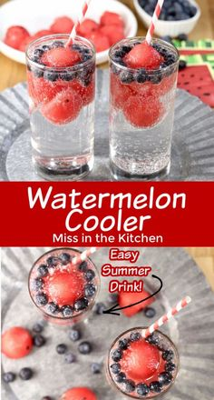 Watermelon Coolers are the easiest summer drink for both kids and adults! Great for celebrations or for sipping on a hot summer day! Frozen watermelon serves as ice cubes and the addition of blueberries creates a fun and patriotic drink. Watermelon Cooler, Frozen Watermelon, Blue Drinks, Fancy Drinks, Pineapple Lemonade, Strawberry Lemonade, Summertime Drinks, Summer Drinks