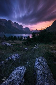 ☀A 5-minute exposure at Glacier NP's St Mary Lake brings out the lingering colors of twilight. ~ Twilight Meadow by Alex Noriega.