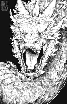 The Hobbit Smaug Dragon Black and White Traditional Ink Portrait Fan Art Prints and Posters by sugarpoultry on Etsy https://www.etsy.com/listing/219497964/the-hobbit-smaug-dragon-black-and-white