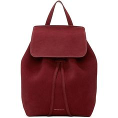 Mansur Gavriel Burgundy Suede Mini Backpack (36.350 RUB) ❤ liked on Polyvore featuring bags, backpacks, burgundy, mini bag, day pack backpack, red drawstring bag, suede backpacks and red backpack