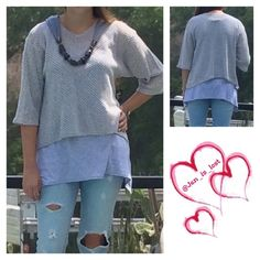 Knit Layered Top S,M,L,XL,1X,2X This is two tops first you get the gray bottom layer top that is a sleeveless gray tunic, to add to the layer is a lightweight silver and white knit top, and as an extra added bonus lets complete the look with the fringed necklace scarf.  How is that for a complete effortless chic look.  Material is viscose polyester blend. Picture two shows all pieces complete look. Tops