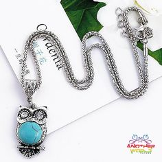 Owl Pendant With Tibetan Turquoise Crystal Necklace - FREE SHIPPING