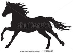 shutterstock silhouettes of horses running | Black silhouette of horse. - stock vector