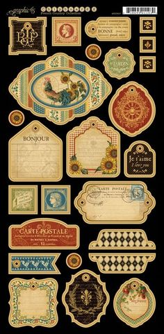 Chipboard tags 2 from our new collection French Country. Look for it in stores in February! #graphic45 #CHAW2013 #sneakpeeks