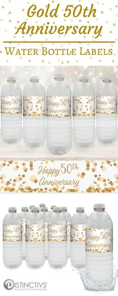 These Gold 50th Anniversary Party Water Bottle Labels are the perfect refreshment decorations for your upcoming: Gold 50th Wedding Anniversary Party 50 Years in Business Company Anniversary Party