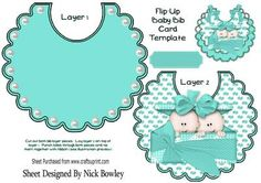 Double trouble cute twin baby boys in turq on a bib on Craftsuprint - Add To Basket!