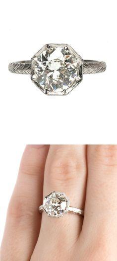 1.92ct European Cut Diamond Ring