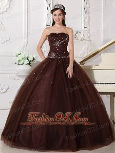 Modest Brown Quinceanera Dress Sweetheart Tulle Rhinestones Ball Gown  http://www.fashionos.com  http://www.youtube.com/user/fashionoscom?feature=mhee   This elegant quinceanera dress features a strapless sweetheart neckline,a full ball gown silhouette accented with a beaded bodice.A tulle underskirt decorated with scattered beading with a lace up back make this quinceanera gowns exquisite.