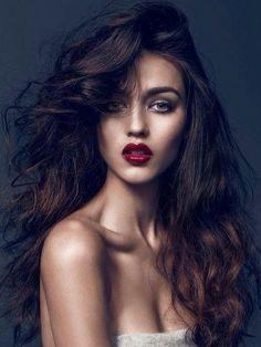 beautiful wild hair and deep red lips