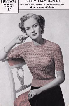 Vintage 1940s 50s Pretty Lacy Jumper Long or Short Sleeves Knitting Pattern #478 | eBay