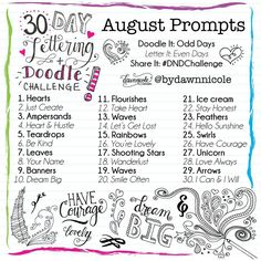 Yay! The first 30 Days Lettering + Doodle DND Creative Challenge is live! You can read more details about it on the blog and see some examples. But really all you have to do is follow the prompts and feel free to share your work with the #DNDchallenge hashtag and tag me so I can feature some favorites!  You're welcome to tag friends below and/or re-gram this image and tag me so friends can share in the fun! #dawnnicoledesigns #justcreate