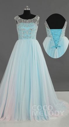 $281. Nice beading work tulle open back #promdress. #cocomelody