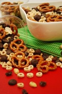 This healthy trail mix packs a protein boost and makes a great after school snack.
