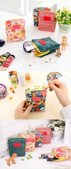 Anyone else have trouble finding things in their purse? I'm always blindly grabbing for things in my bag because nothing is organized! Now I can store all my necessities in these Ardium Small Pattern Pouches! These pouches have a colorful flower pattern that makes them eye catching and easy to find! These are the perfect size for my small items like make-up, toiletries, and even feminine hygiene products! Now all my things can be safe in one place and not rolling around! Check them out! ^_~*