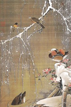 Japanese art birds and flowers prints Mandarin Ducks in snow Ito Jakuchu FINE ART PRINT paintings posters woodblock print reproduction Japanese Bird, Japanese Prints, Art Canard, Art Chinois, Mandarin Duck, Art Asiatique, Art Japonais, National Gallery Of Art, Japanese Painting