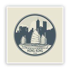 2 x Hong Kong China Vinyl Stickers Travel Luggage #7459