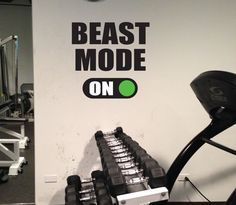 Home Gym Decor BEAST MODE ON Gym Wall Art Vinyl by JandiCoGraphix, $36.00
