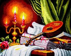 """NEEDLEPOINT CANVAS*// """"Konzert"""" A Vintage  Printed Needlepoint/Still life/ Musical Instrument, Candles & Roses.//Was (175.00 Dollars) Now!!"""
