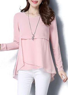 Asymmetric Hem Pink Long Sleeve Blouse on sale only US$28.27 now, buy cheap Asymmetric Hem Pink Long Sleeve Blouse at lulugal.com