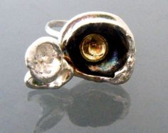 Eco Friendly Statement Ring with Recycled Silver and Recycled 18 K Gold