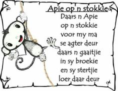 Afrikaans - apie op n stokkie Preschool Songs, Classroom Activities, Animals Name In English, Afrikaans Language, Classroom Expectations, Kids Poems, Children Songs, Thing 1, African Children