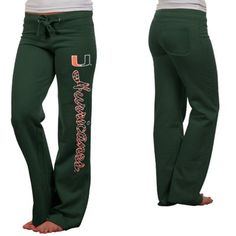 Miami Hurricanes Ladies Animal Print Rugby Fleece Sweatpants - Green