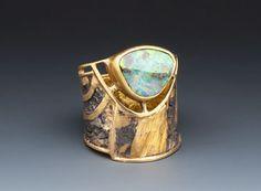 Ring | Marne Ryan. Boulder Opal, 22 &24k gold, sterling silver.