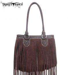 Montana West TR09-8562 Trinity Ranch Fringe Design Western Handbag Purse-Brown