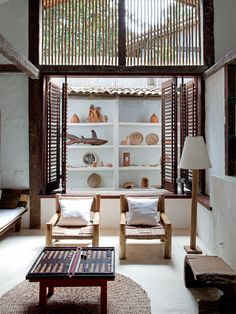 White Beach House with Wood Details in Brazil | Interior Design Files