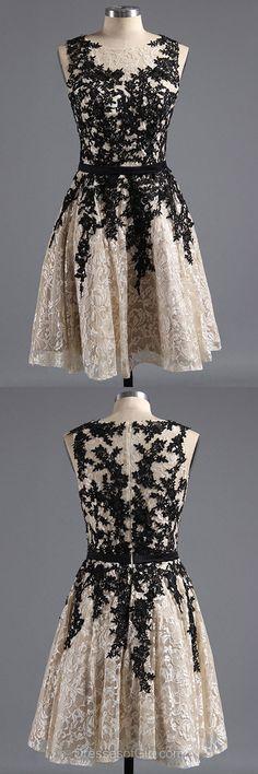 Lace Prom Dresses, Scoop Neck Formal Dresses, Aline Evening Dresses, Short Homecoming Dresses, Cheap Graduation Dresses