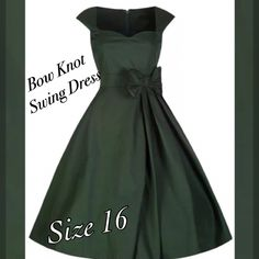 """This is a brand new lovely retro inspired dress. Made of a cotton blend, has a zipper in back, a decorative bow tie in front, and is knee length.        Measurements are as follows:    2XLarge, US 16, Bust 39"""" - 41"""", Waist 34""""    **This item ships immediately! 📦    ✨Also available for local try on and pick up in Sacramento, CA. 