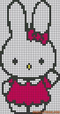Diy Crafts - strijkkralen-Alpha friendship bracelet pattern 3578 added by bunny hello kitty rabbit. Cross Stitching, Cross Stitch Embroidery, Embroidery Patterns, Pixel Crochet, Crochet Chart, Hama Beads Patterns, Loom Patterns, Cross Stitch Charts, Cross Stitch Patterns
