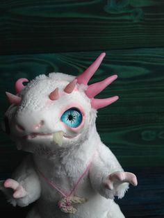 DRAGON TOY White Albino Dragon Ooak Fantasy Creature Doll Art
